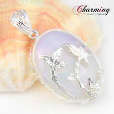 Unique Charm Huge Oval Glowing Rainbow Moonstone Gems Silver Necklace Pendant