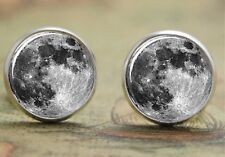 925 Silver Plated Full Moon Cufflinks Space Cuff links Tie clip UK SELLER