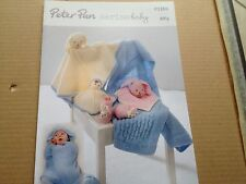 PETER PAN BABY MERINO 4PLY KNITTING PATTERN P1265 SWADDLE BLANKET COMFORTERS NEW