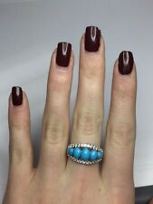 Genuine Top Blue Sleeping Beauty Turquoise & White Topaz Band Ring Silver Size 7