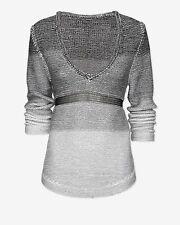 NWT $460 V-Neck Helmut Lang-L-'Plaited Degrade' Greys Gradient Sweater SOLD OUT!