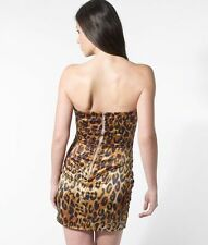 Lipsy Centre Panel Ruched Bandeau Dress/Risk Animal Print/Size 8/Leopard/Evening