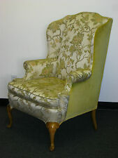 Vintage French Provincial Wingback Arm CHAIR Floral & Yellow Velvet Fabric