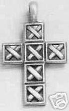 Antica Reticolo Cross-Collana con ciondolo in peltro con Cavo Nero