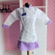 Barbie doll Chef Barbie white & purple plaid dress long sleeve coat career