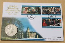 QUEENS GOLDEN WEDDING ANNIVERSARY 1997 FALKLAND ISLANDS FDC + £5 FALKLANDS COIN
