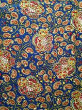 5yds Vintage COTTON Colorful PAISLEY on BLUE Fabric