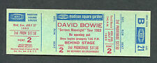 1983 David Bowie Unused Concert Ticket Serious Moonlight Madison Square Garden
