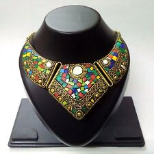 Necklace Bib Choker Collar Multi Color Jewelry Ethnic Boho Fusion India EA339