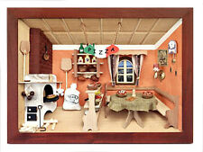 German old fashion wooden 3 - D picture box Diorama - PIZZA SHOP - RESTAURANT
