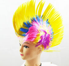 Yellow Mohawk Punk Kids Fancy Dress Wig Adults Party Cosplay Stag Novelty Wigs