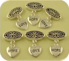 "Beads & Heart Charms ""Love"" & ""Hope"" Metal Filigree Ovals ~ 2 Hole Sliders QTY 6"
