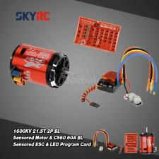SkyRC 1600KV 21.5T 2P Sensored Motor+CS60 60A ESC+LED Program Card Set G6W1