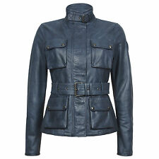 BELSTAFF WOMEN'S LEATHER JACKET RRP £ 1,250 TRIUMPH Giacca Nero