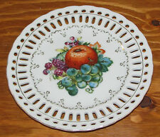 Vintage Japan Porcelain Reticulated Pierced Edge Plate Fruit Pattern 7 5/8""