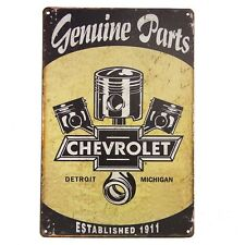 Chevrolet Genuine Parts Metal Tin Sign, Hot Rod, Rat Rod, Street Rod, Man Cave
