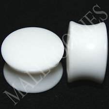 """0443 Double Flare White Acrylic 5/8"""" Inch Plugs 16mm"""