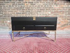 Maitland Smith Style Heavy Wrought Iron Leather Lift Lid Cocktail Coffee Table