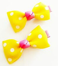 USA SELLER HANDMADE FABRIC Hair Clip PIN Claw Bowknot Kids Child Blue Yellow 2