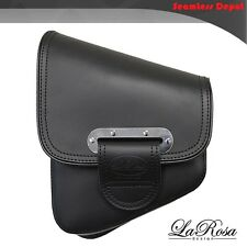 La Rosa Black Leather Slim Line Harley Softail Chopper Left Swing Arm Saddlebag