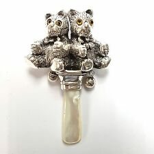 Collectable Mother Of Pearl & Solid Silver Teddy Bear Baby Rattle Hallmarked
