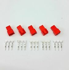 PK OF 5 - MALE 3 PIN FAN POWER CONNECTOR - RED INC PINS