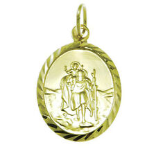 9CT GOLD ST SAINT CHRISTOPHER PENDANT CHAIN NECKLACE WITH GIFT BOX - 2.1g