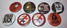 """NFL Cleveland Browns Lot of 8 Anti-Steelers 1 1/4"""" Buttons Pittsburgh Steelers"""