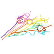 Colorful Straw Crazy Curly Loop Coloured Drinking Straws for Birthday Party 10X