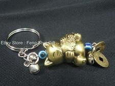 Feng Shui Chinese Japanese Lucky Key Chain Ring Money Cat Fish Charm Figurine