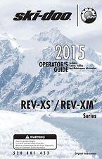 Ski-Doo owners manual book 2015 REV-XS & REV-XM SERIES Freeride