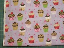 Cup Cakes on Purple, 1 YD, Cotton Fabric, New