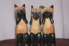 3 WISE CATS NOT MONKEYS WOOD CARVINGS SEE , HEAR , SPEAK NO EVIL HAND CARVED .