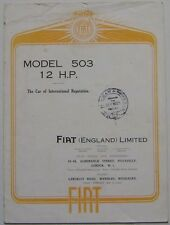 Fiat Tipo 503 12 HP 1926 Original UK Foldout Sales Brochure