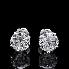 Brilliant Lab Diamond 1ct. Earrings 14K White Gold Solitaire Round Basket Studs