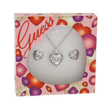GUESS Jewellery HEART NECKLACE & STUD EARRINGS SET Rhodium Silver UBS91102 e683
