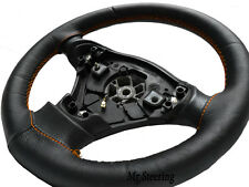 FOR HONDA JAZZ 04-12 BLACK ITALIAN LEATHER STEERING WHEEL COVER ORANGE STITCHING