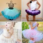 New Kids Girls Floral Lace Tulle Pompon Multi-Layer Skirts Tutu Dance Dress G89