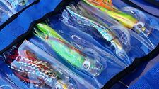 "6x Game Fishing Trolling Lures Skirted Fishing 6"" Marlin Tuna Lure Kit Rod Combo"