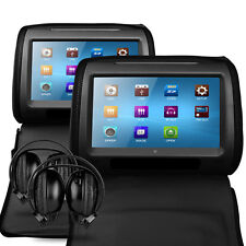 "2 x Black 9"" Leather-Style Car DVD Headrests with HD-Screen/USB/Games/Headphones"