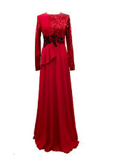 NEW PROM DANCE FORMAL GOWN SLEEVES SEQUIN PAGEANT DESIGNER LONG EVENING DRESS UK