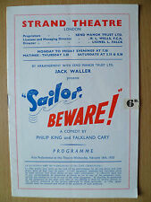 STRAND THEATRE PROGRAMME First Perform 1955-SAILOR BEWARE! by P King & F Cary