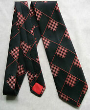 KEYNOTE VINTAGE WIDE TIE RETRO 1970s MOD CASUAL BLACK RED TARTAN CHECKS CHECKED