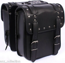 Motorcycle Biker Small Saddle bag, Sissy Luggage, Cruiser Panniers, Rack Leather