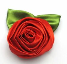 Fashion Ladies Rose Flower Cloth Hair Clip Flower Brooches Wedding Party Red