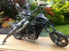 Harley Davidson Motorcycle Sculpture Statue Art Erotic Nude Figure Pewter