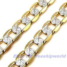 "23.6""6mm26g REAL STYLISH 18K YELLOW WHITE GOLD GP NECKLACE SOLID FILL CURB CHAIN"