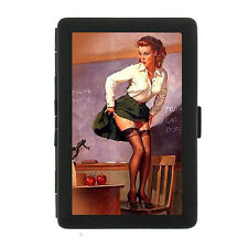 Black Metal Cigarette Case Holder Box Pin Up Girl Design-018