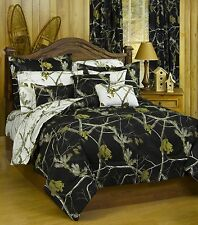 Realtree AP Black & Snow White Reversible Camo 3 Pc QUEEN Comforter Set-Wildlife