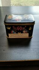 Collectable Royal Kerry Fruit Drop Tin Black w/ Yellow Birds and Flowers